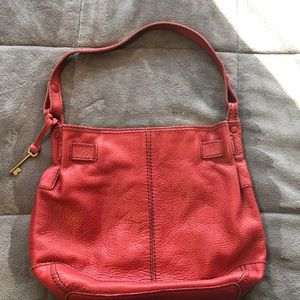 Genuine FOSSIL Distressed Leather Purse- Red
